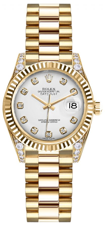 replique Rolex Lady-Datejust 26 cadran en diamant blanc montre en or 179238