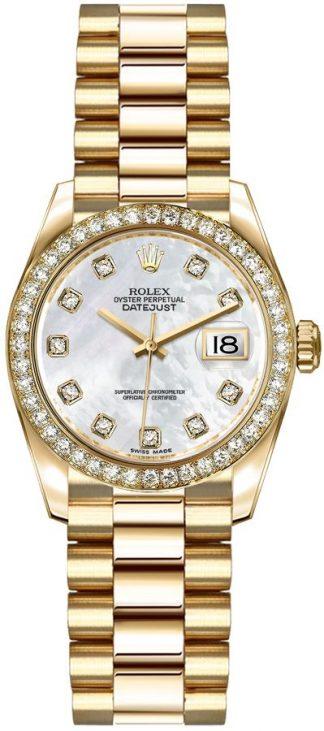 replique Rolex Lady-Datejust 26 cadran nacre diamant montre en or 179138