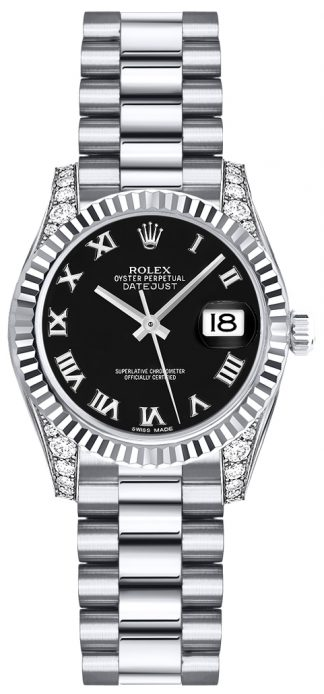 replique Rolex Lady-Datejust 26 cadran noir à chiffres romains 179239