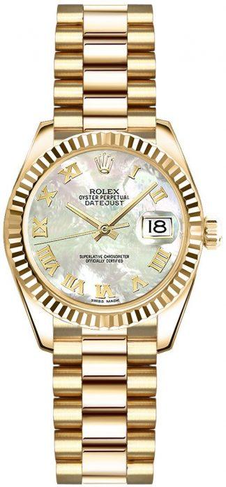 replique Rolex Lady-Datejust 26 nacre montre à chiffres romains 179178