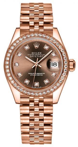 replique Rolex Lady-Datejust 28 Jubilee Gold Diamond Watch 279135RBR