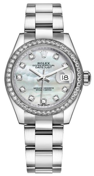 replique Rolex Lady-Datejust 28 Mother of Pearl Diamond Dial Watch 279384RBR