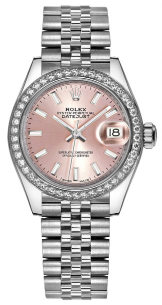 replique Rolex Lady-Datejust 28 Pink Dial Watch 279384RBR