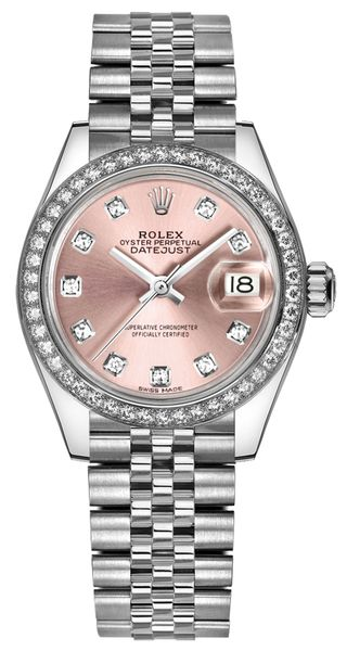 replique Rolex Lady-Datejust 28 Pink Diamond Jubilee Bracelet Watch 279384RBR