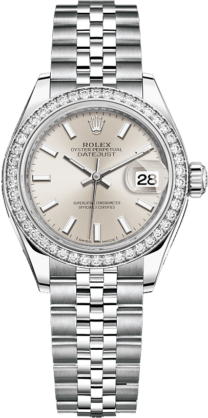 replique Rolex Lady-Datejust 28 Silver Dial Jubilee Bracelet Watch 279384RBR