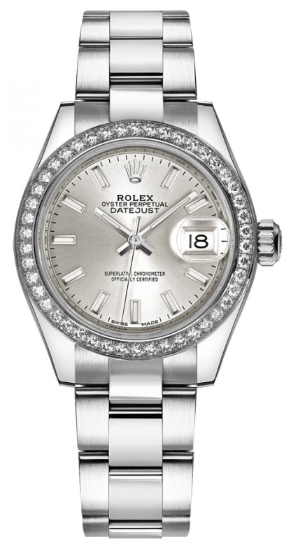 replique Rolex Lady-Datejust 28 Silver Dial Watch 279384RBR