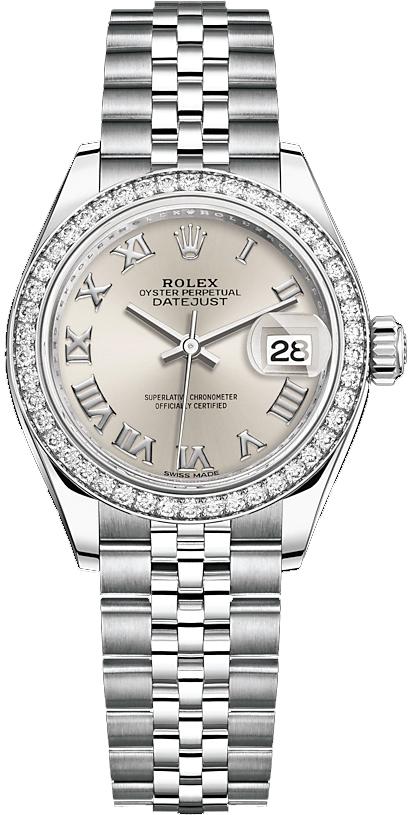 replique Rolex Lady-Datejust 28 Silver Roman Numeral Jubilee Bracelet Watch 279384RBR