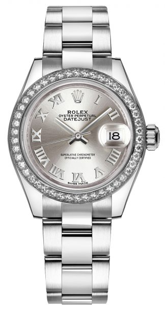 replique Rolex Lady-Datejust 28 Silver Roman Numeral Oyster Watch 279384RBR