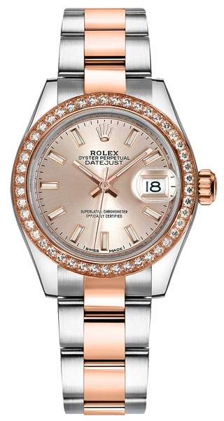 replique Rolex Lady-Datejust 28 Stainless Steel & Gold Watch 279381RBR