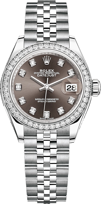 replique Rolex Lady-Datejust 28 Stainless Steel & White Gold Watch 279384RBR