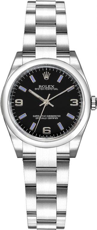 replique Rolex Oyster Perpetual 26 Oyster Bracelet cadran noir Montre 176200