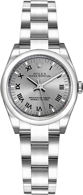 replique Rolex Oyster Perpetual 26 cadran gris rhodium 176200