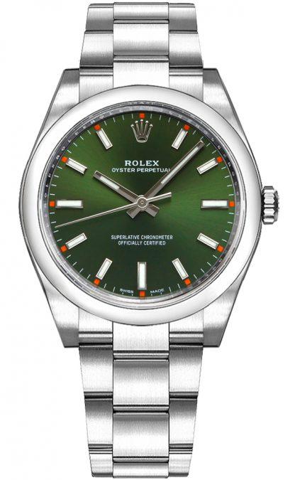replique Rolex Oyster Perpetual 34 cadran vert montre de luxe 114200