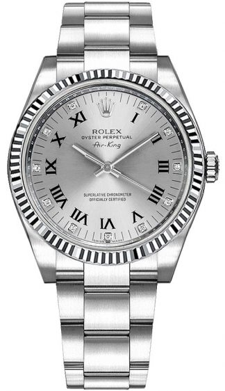 replique Rolex Oyster Perpetual Air-King Silver Diamond Dial 114234