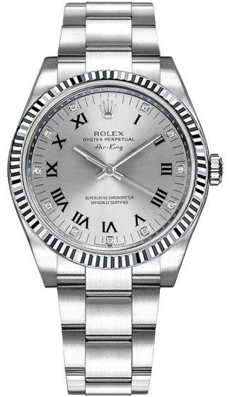 replique Rolex Oyster Perpetual Air-King Silver Diamond Dial 114234