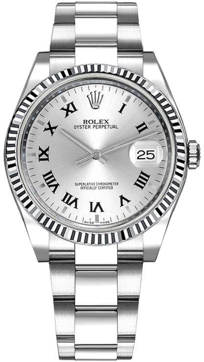 replique Rolex Oyster Perpetual Date 34 Montre à cadran en chiffre romain argenté 115234