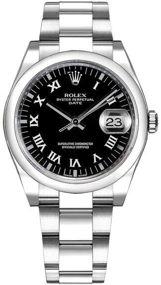 replique Rolex Oyster Perpetual Date 34 Montre cadran noir à chiffres romains 115200