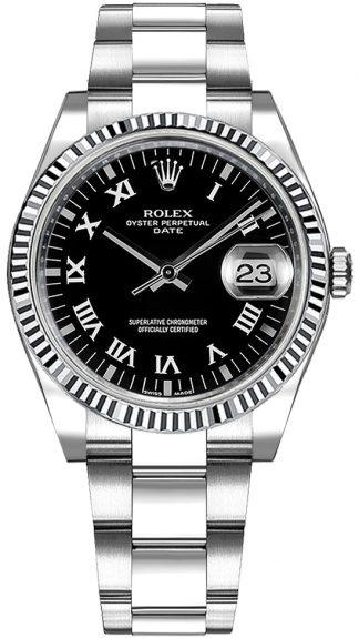 replique Rolex Oyster Perpetual Date 34 Montre cadran noir à chiffres romains 115234