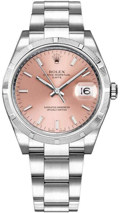 replique Rolex Oyster Perpetual Date 34 cadran rose montre automatique suisse 115210