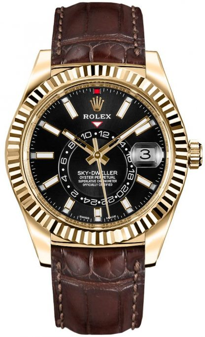 replique Rolex Sky-Dweller Black Dial Men's Watch 326138