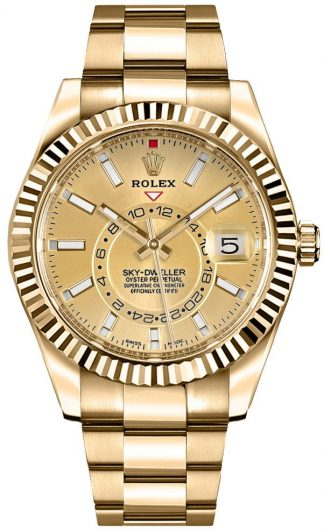 replique Rolex Sky-Dweller Champagne Dial Gold Men's Watch 326938