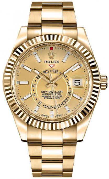replique Rolex Sky-Dweller Champagne Dial Gold Men's Watch 326938