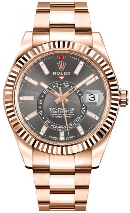 replique Rolex Sky-Dweller Everose Gold Men's Watch 326935