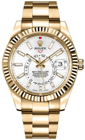 replique Rolex Sky-Dweller Gold Men's White Dial Watch 326938