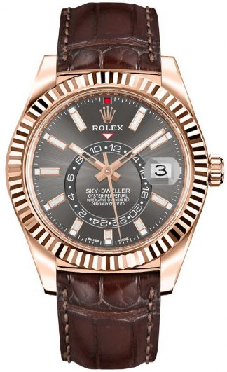 replique Rolex Sky-Dweller Leather Strap Men's Watch 326135