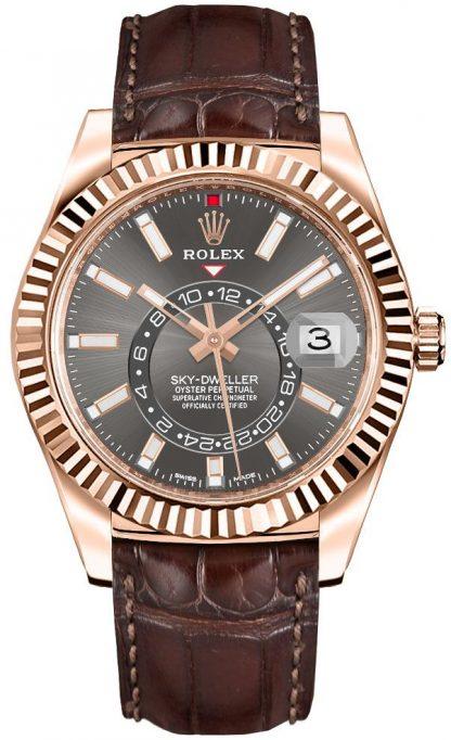 replique Rolex Sky-Dweller Leather Strap Men's Watch 326135