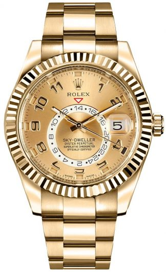 replique Rolex Sky-Dweller Men's Gold Watch 326938