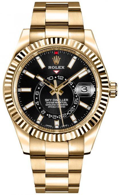 replique Rolex Sky-Dweller Yellow Gold Men's Black Dial Watch 326938