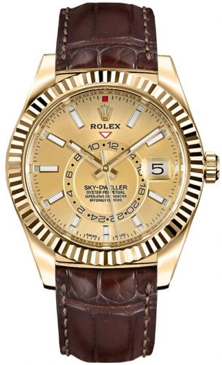 replique Rolex Sky-Dweller Yellow Gold Men's Watch 326138
